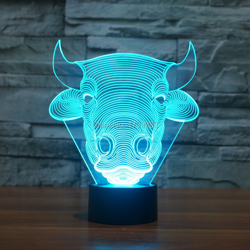 Free Shipping Color changing Flashing touch sensor control Bull Acrylic 3D Toro font b LED b