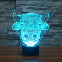 Free Shipping Color changing Flashing touch sensor control Bull Acrylic 3D Toro LED Night Light LED OX USB table Lamp