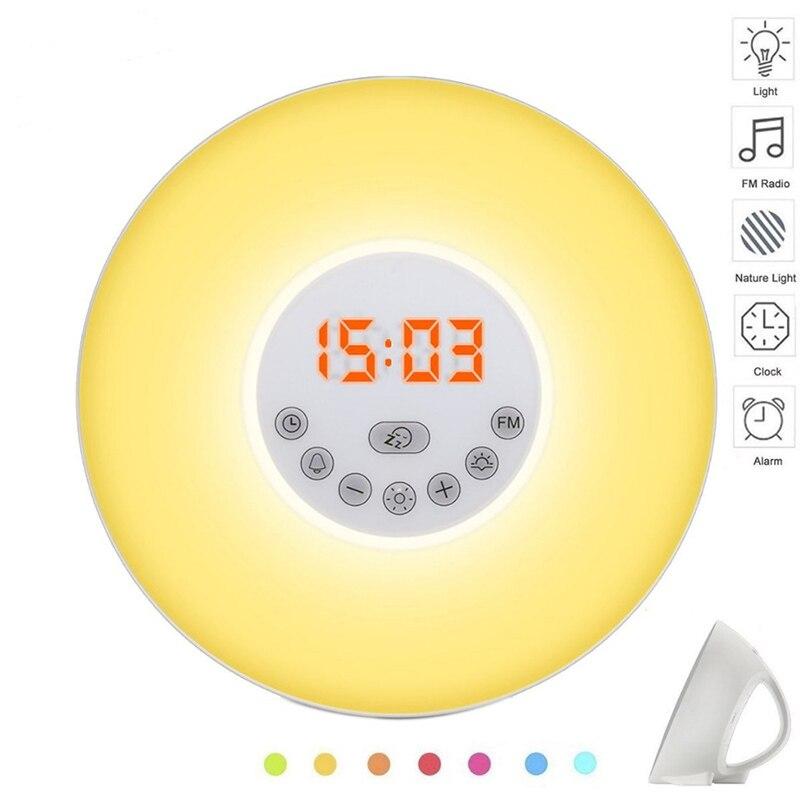 Sunrise/Sunset/Digital Alarm Clock Colorful Light LED Digital Time Display FM Radio Snooze Mode Nature Sound Wake Up