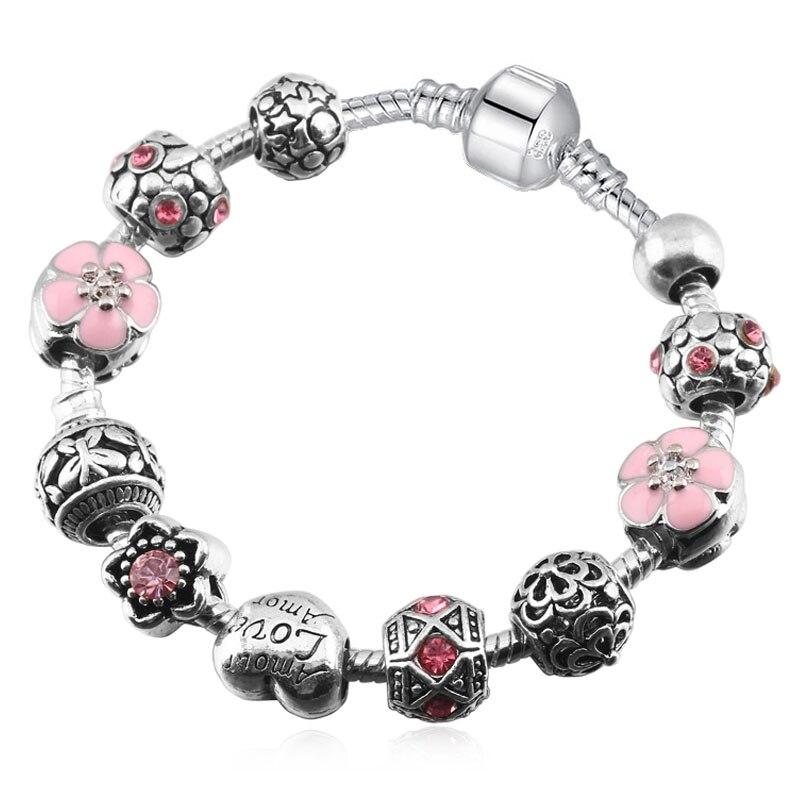 2018 uus saabumine roosa kirss lill süda helmed sobivad Pandora - Mood ehteid - Foto 3