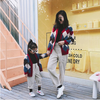 Family Matching Clothes Baby Girl Sweater Cardigan Autumn Winter Fashion Preppy Style Kids Girls Woolen Coat Toddler Outwear