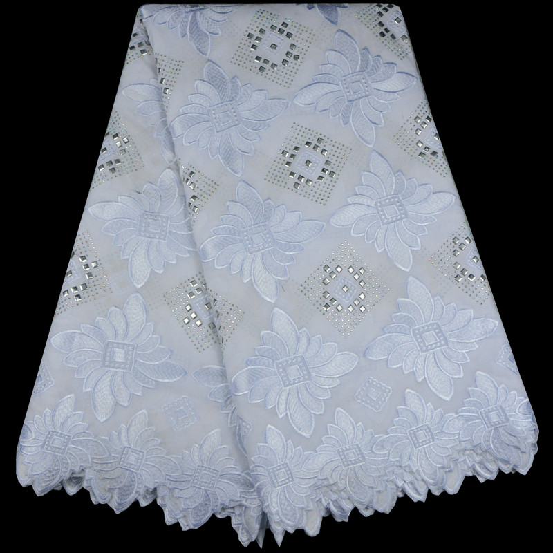 African Dry Lace Fabric Swiss Voile With Stones Sequins Swiss Cotton Lace High Quality 2018 White