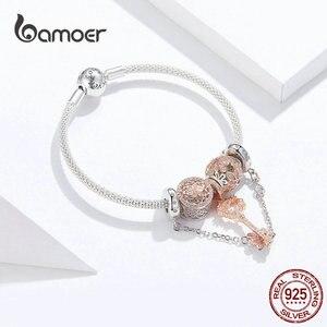 Image 2 - Bamoer Rose GoldสีเดิมCharmสร้อยข้อมือผู้หญิงดอกไม้Daisy Love Keyจี้Charms Solidเงิน 925 เครื่องประดับSCB824