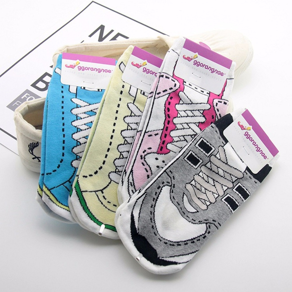 Shoe lace printed socks casual personalized novelty funny trendy women sock spring summer thin happy colorful cotton short socks