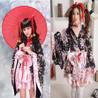Anime Cosplay Lolita Flower Print Halloween Fancy Dress Japanese Kimono Costume Maid Uniform Outfit Costumes Dress