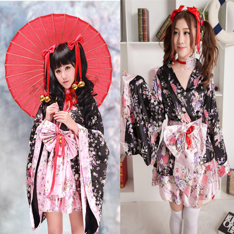 Anime Cosplay Lolita Flower Print Halloween Fancy Dress Japanese Kimono Costume Maid Uniform Outfit Costumes Dress Trendy Black