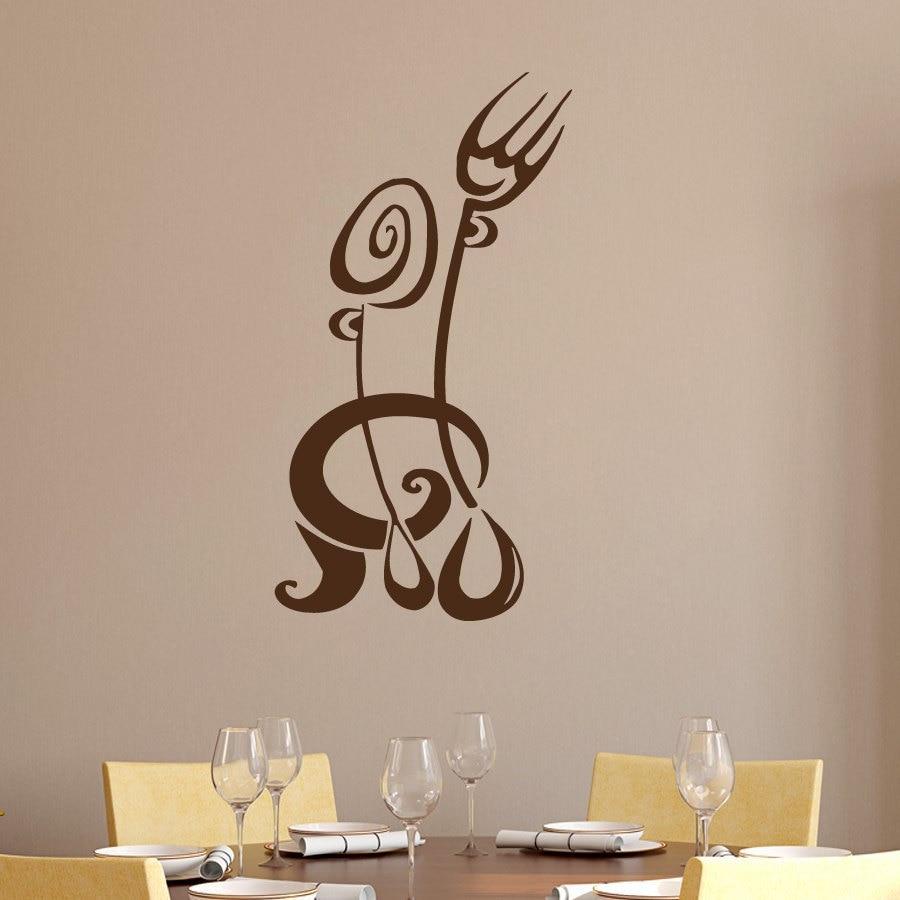 Fork spoon wall sticker creative kitchen restaurant wall for Creative wall decor
