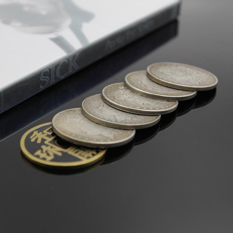 Sick by ponta the smith (truque e dvd) e 6 moedas antigas conjunto de truques de magia perto de palco rua brinquedos mágicos