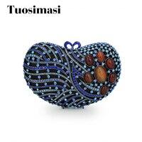 Ослепительная роскошный большой алмаз сумка Голубое сердце со стразами роскошные сцепления Вечерняя Apple сердце кристалл клатчи