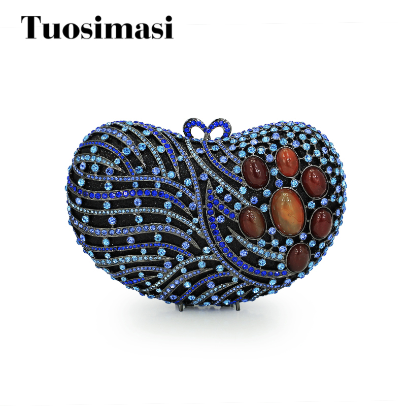 Dazzling luxury big diamond bag blue heart rhinestone women luxury clutch evening bag apple heart crystal clutch purses цены