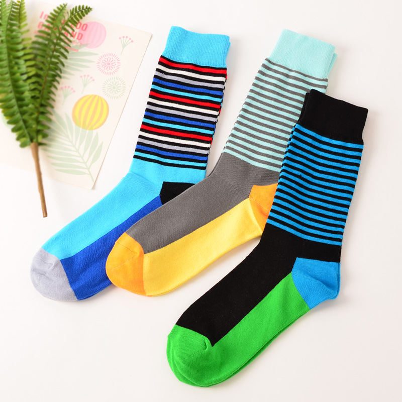 New style colorful mens striped cotton happy socks business dress crew sox harajuku brand designer winter blue contrast size 12