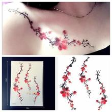 1PC Women Sexy Tattoo Plum Blossom Pattern GQS-A034 Branch Red Sakura Tattoo Paster Style Tattoo Fake Waterproof Tatoo