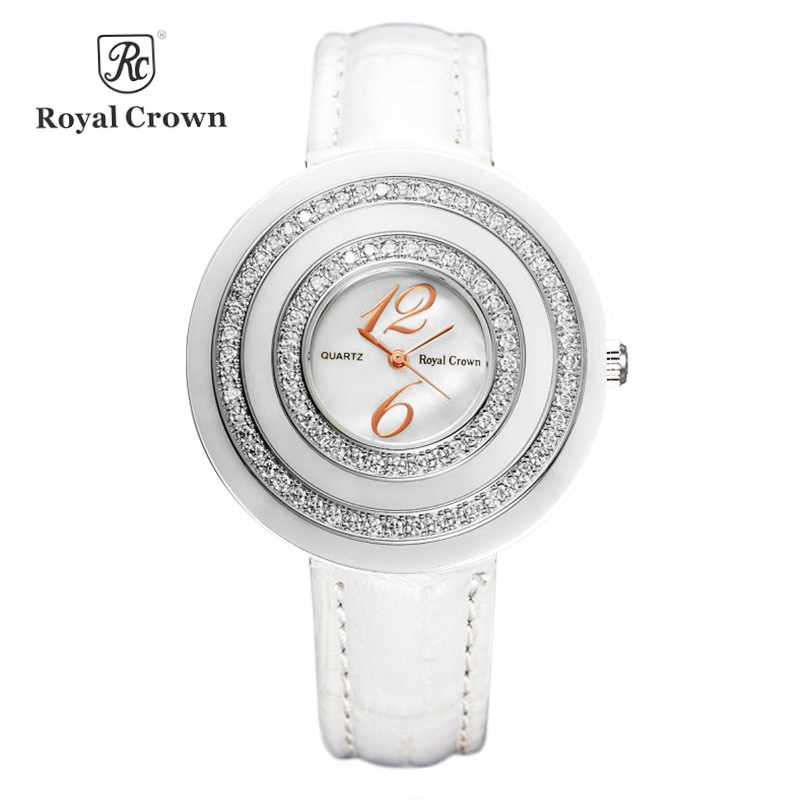 Royal Crown Luxury Ceramic Lady Womens Watch Fashion Hours Colorful Clock Leather Bracelet Rhinestone Girl Birthday Gift BoxRoyal Crown Luxury Ceramic Lady Womens Watch Fashion Hours Colorful Clock Leather Bracelet Rhinestone Girl Birthday Gift Box
