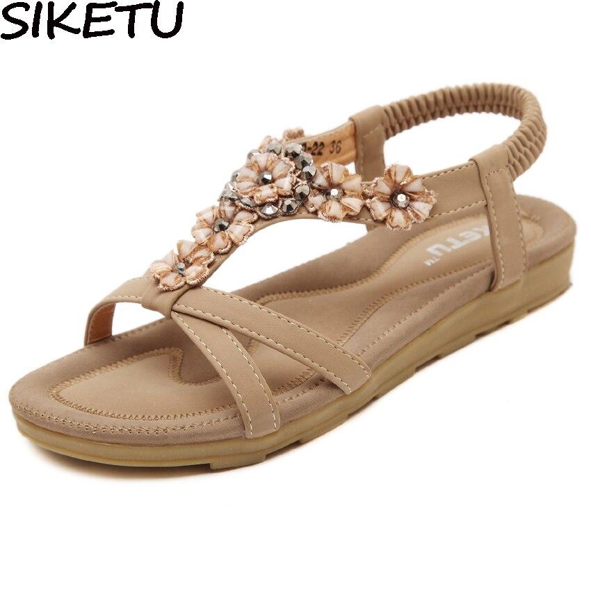 SIKETU Elegant Preppy Style Shoes Women Crystal Rhinestone Floral Boho  Bohemian Sandals Ethnic Soft Flat Heel Shoes Plus Size aa2cb90bc230