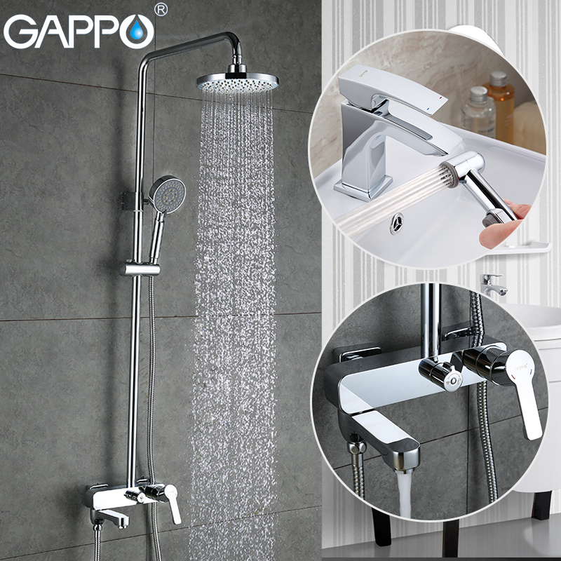 GAPPO shower faucet waterfall bath tap mixer wash basin water tap brass bath shower faucets bathroom женские кулоны jv серебряный кулон с куб циркониями ps0249 glzi 001 wg