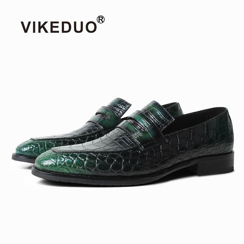 VIKEDUO 2019 New Crocodile Skin Men's Shoes Patina Luxury Brand Loafer Shoes Driving Leather Footwear Male Slip On Zapato Hombre