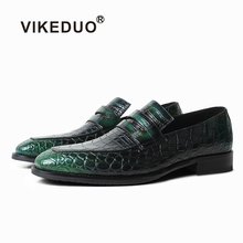 VIKEDUO 2019 New Crocodile Skin Mens Shoes Patina Luxury Brand Loafer Driving Leather Footwear Male Slip On Zapato Hombre