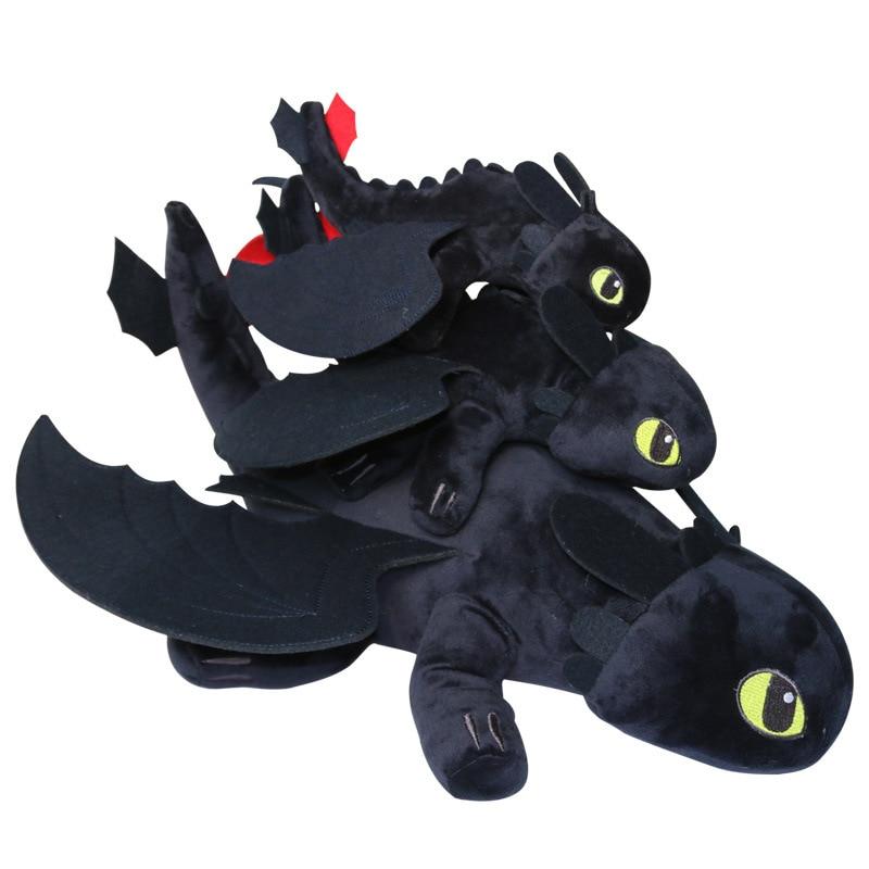 3pices 1set Dragon Master 2 night furys toothless teeth lying posture Q version to the Black Dragon Plush Toy Kids doll gift