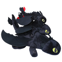 3pices 1set Dragon Master 2 night furys toothless teeth lying posture Q version to the Black Dragon Plush Toy Kids doll gift