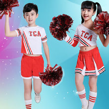 Children Cheerleader Uniform Stage Team Wear Kids Performance Dresses Girl Shoulder Off Top Skirt Costumes Boys Gymnastics Suits(China)
