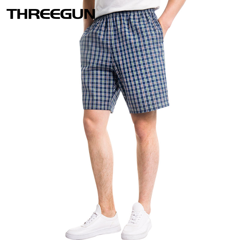 THREEGUN 2019 New Cotton Casual Beach Pants Men's Home   Shorts   Plaid Beach   Board     Shorts   Swimming Surffing Men Quick Dry   Shorts