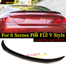 цена на F06 F12 Coupe Rear Trunk Spoiler V Style Carbon For BMW F06 F12 640i 650i Rear bumper diffuser  m tech m-sport & m6 car 2012-16