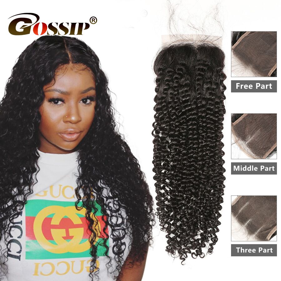 6x6 Lace Closure Brazilian Remy Hair Extensions Kinky Curly Closure Gossip Hair 100 Human Hair Closure