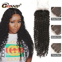 6x6 Lace Closure Brazilian Remy Hair Extensions Kinky Curly Closure Gossip Hair 100% Human Hair Closure 8 20 Inch Lace Closure