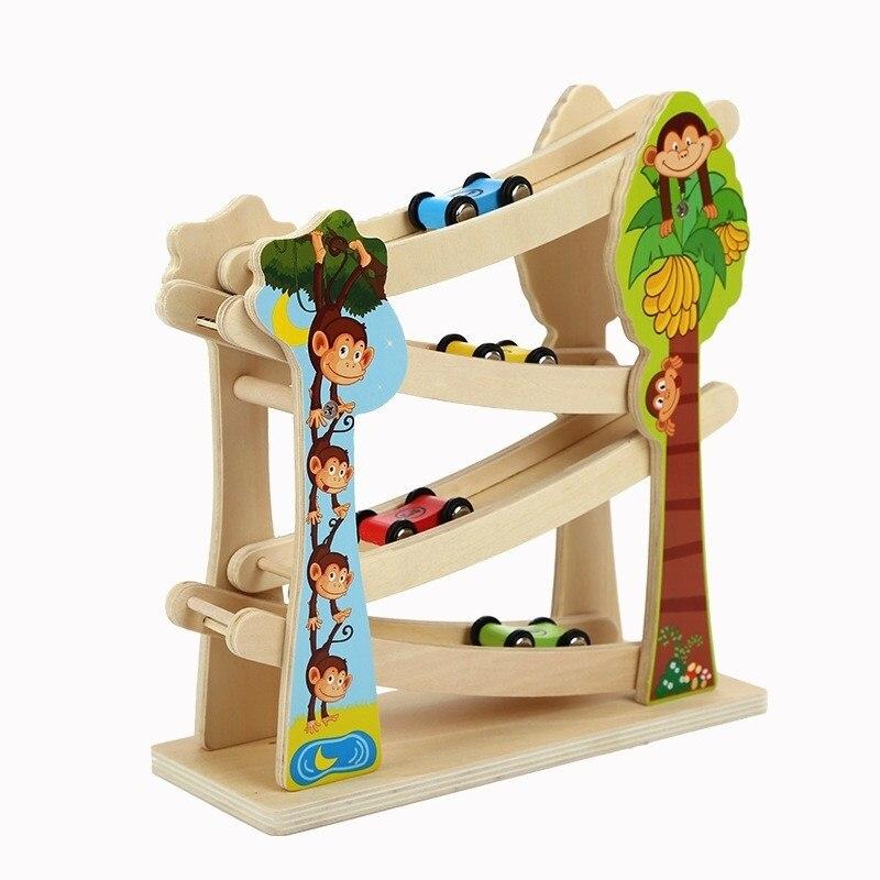 Montessori blocs de chemin de fer en bois 4 pièces Mini voiture jouets pour enfants garçons début éducatif spécial brinquedos Oyuncak brinquedo 51