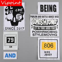 VIPOINT embroidery printed warning patches letter alphabet badges applique for clothing YM-43