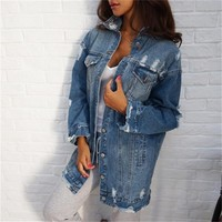 Yocalor 2019 Women Denim Jackets Hole Boyfriend Style Long Sleeve Vintage Jean Jacket Denim Loose Spring Autumn Denim Coat Jeans