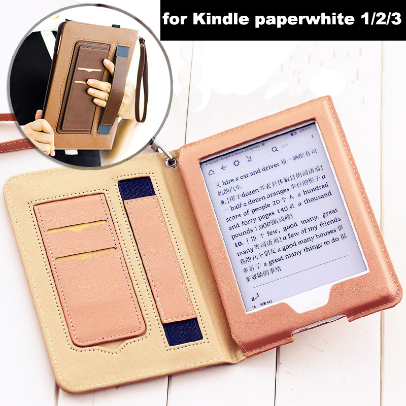 PU Leather Smart Case for Funda Kindle Paperwhite 1/2/3 eReader (7th Generation-2012/2013/2015/2017 Release) Auto Sleep/Wake image
