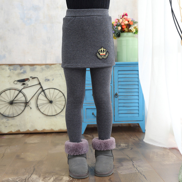 Retail Kids Pants Children's Clothing Girls Casual Solid Thick Velvet Princess Skirt Leggings Next Winter Baby Trousers 3-15Y