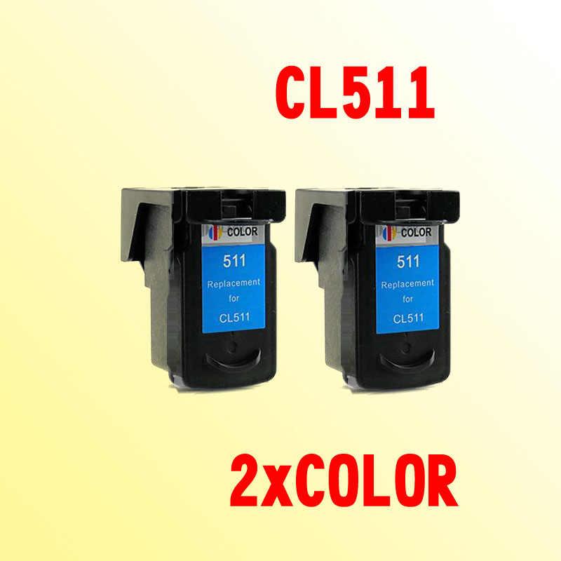 2 Pcs Color Ink Cartridge Kompatibel untuk Canon CL 511 CL 511 CL-511 PG510XL CL511XL PIXMA MP230 240 250 260 270 280 282 480
