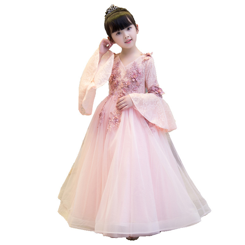2018  Tulle Flower Girl Dress Kids Wedding Dress Long Sleeve Appliques Kids Party Prom Dress First Communion Dresses B22018  Tulle Flower Girl Dress Kids Wedding Dress Long Sleeve Appliques Kids Party Prom Dress First Communion Dresses B2