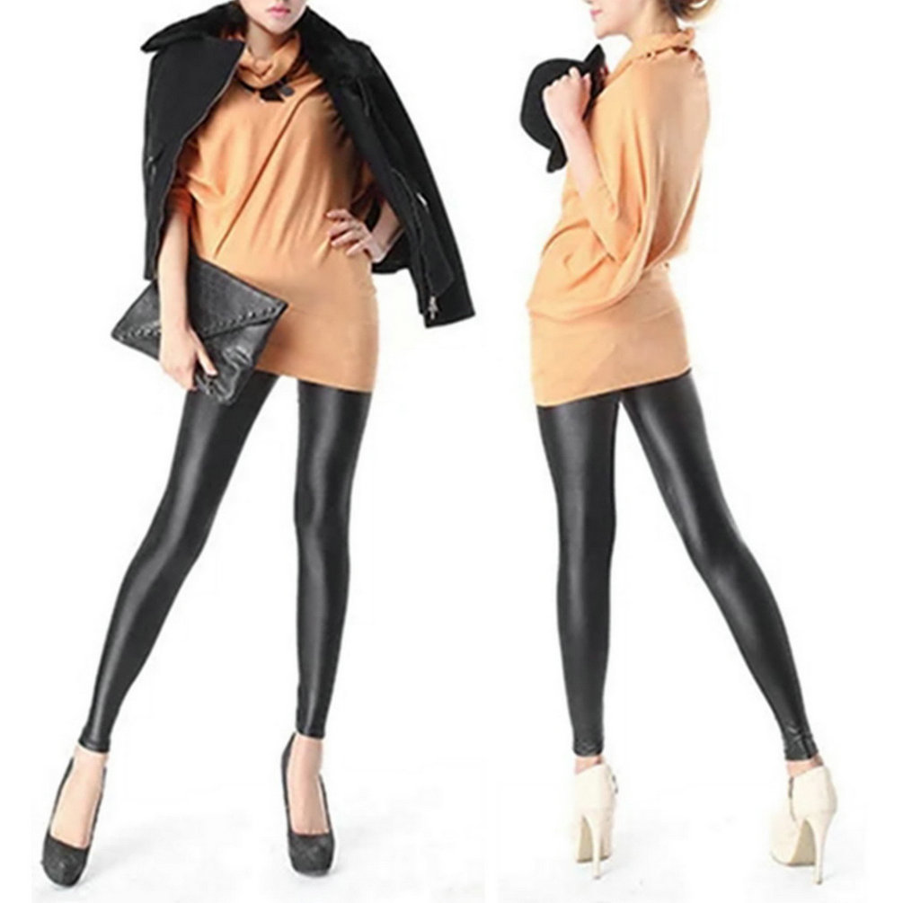 Women Girl's Sexy Black Faux PU Leather Leggings Women Skinny Pencil Pants Trousers