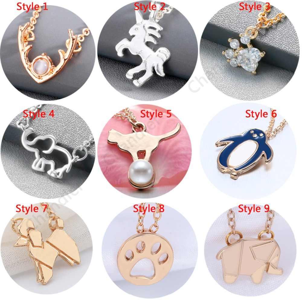 Chandler 10 Phong Cách Thời Trang Đồ Trang Sức Phụ Nữ Mặt Dây Chuyền Vòng Cổ Mèo Chân Unicorn Voi Gạc Quyến Rũ Động Vật Xương Đòn Chains Chokers