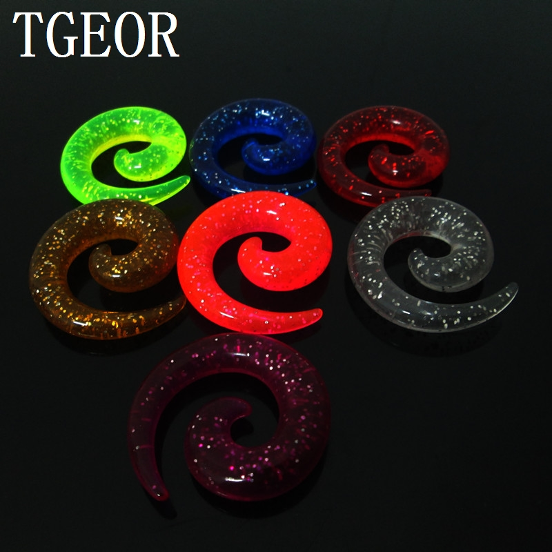 Hot piercing body jewelry ear expander Charm 1 pair gauges colors glitter spiral acrylic ear taper free shipping