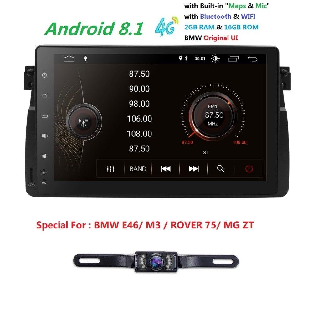 9''Radio Android 8.1 4quadcore lecteur GPS de voiture pour BMW E46 berline/Rover 75 1999 2000 2001 2002 2003 2004 2005/MG ZT DVR DAB + SWC 4G