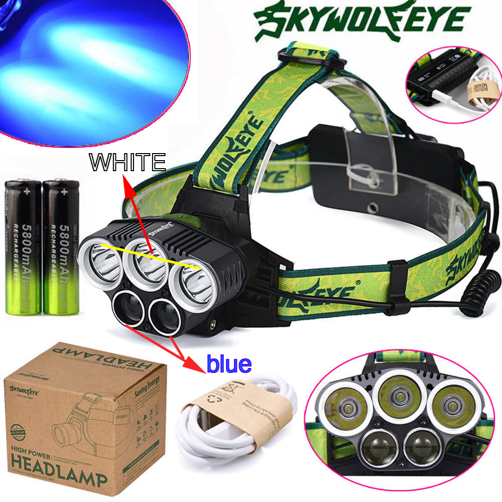 20000lm 3x XM LT6 2x R2 Blue LED 18650 USB Power Rechargeable Headlamp Headlight Torch Flashlight