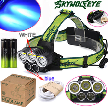 20000lm 3x XM-LT6+2x R2 Blue LED 18650 USB Power Rechargeable Headlamp Headlight Torch Flashlight Lamp +2X 18650 Battery