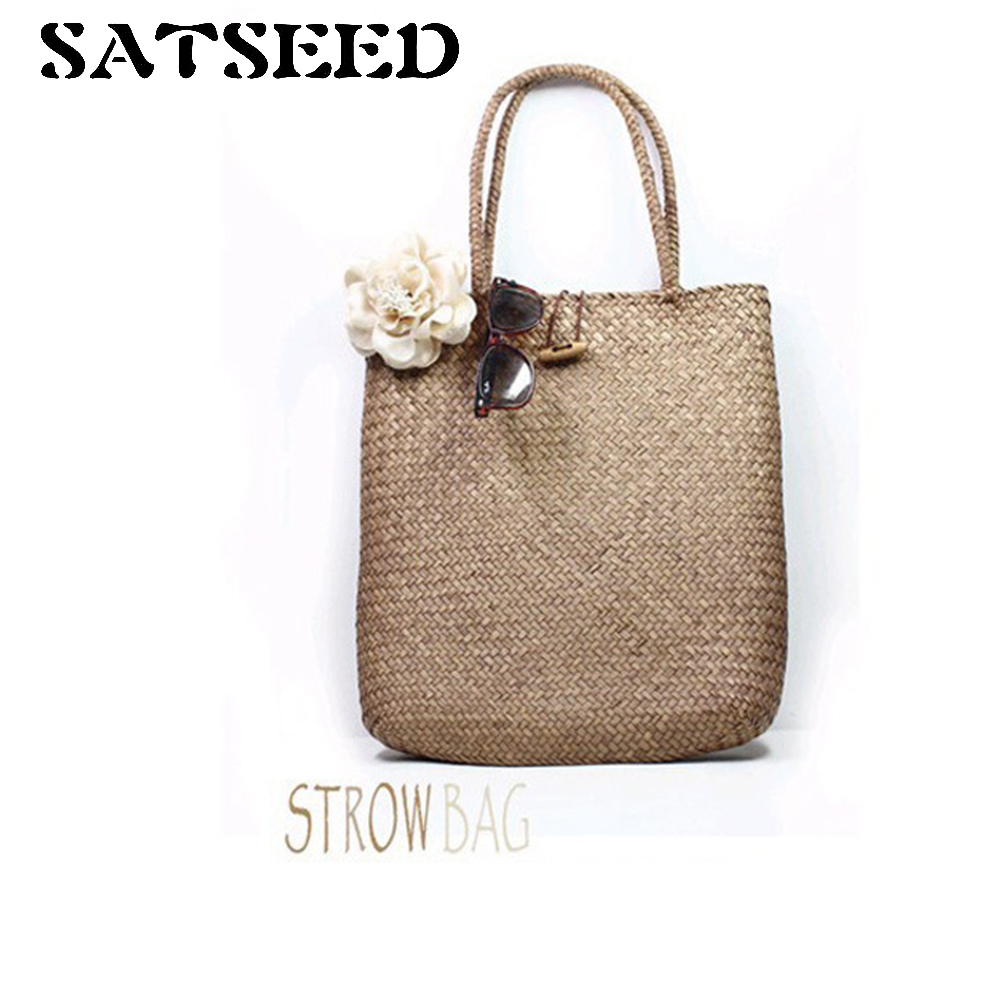 Women Shoulder Bags Pure Handmade Sen Female Beach Mat Knitting Handbag Straw Rattan Bamboo Braided Bag Past Fashion New In From Luggage