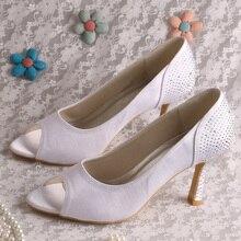 Wedopus MW779 Crystal Peep Toe Wedding Shoes White Satin 9CM Dropshipping