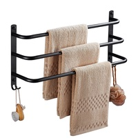 304 stainless steel three layer towel rack black fashion toilet wall mounted polished towel rack bathroom hardware accessories