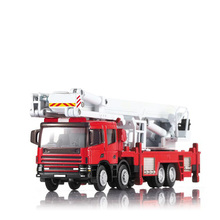 Alloy Engineering Lift Up Fire Engine Vehicle 1:50 Aerial Truck Model Simulator Ladder Toys Building Kits