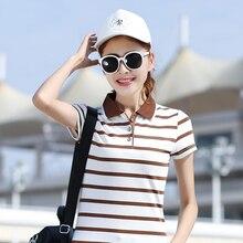 New 2017 Women's Brand Polo Shirt For Women Summer Striped Short Sleeve shirt Turn-Down Collar Shirt Plus Size Cotton Tops