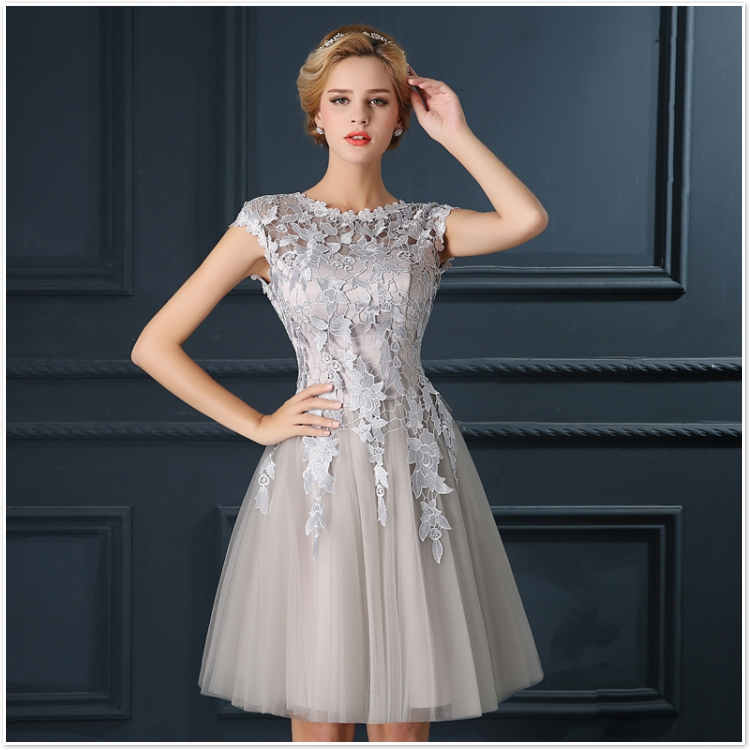 Robe De Soiree 2017 gery u collar Lace Up short evening dress abendkleider vestito da sera prom dresses party dresses 4 colors 15
