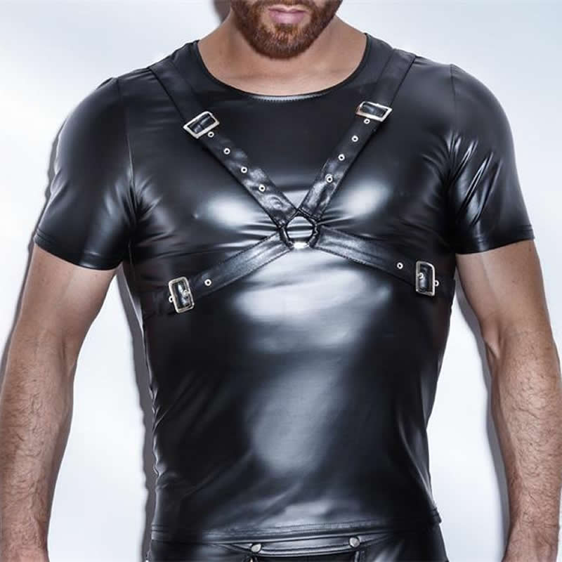 Ерлерге арналған T-shirt Patent Leather Tshirts Sexy MenFashion Tees Tight Рубашки Faux Қожа Funny Undershirts Корсет Gay Male Dress