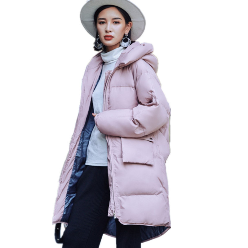Pink Large Size Thickening Women Jacket Cotton Padded Fashion Warm Hooded Parka Femme Casual Zipper Winter Coat Women TT3344 women winter coat thickening cotton padded clothing hooded parkas casual warm jacket women large size coat chaquetas mujer c3204