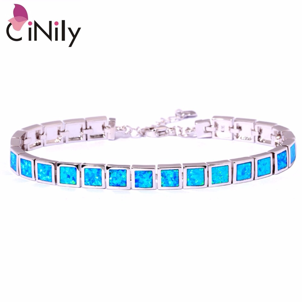 CiNily Created Blue White Pink Fire Opal Silver Plated Wholesale Square Shape for Women Jewelry Chain Bracelet 8 3/4 OS381 2017 african wholesale round silver plated rhinestone with square shape earrings jewellery sets for women